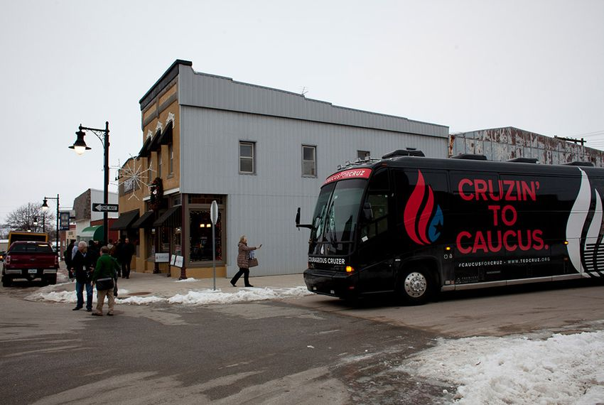 Sen. Ted Cruz's campaign bus is parked in downtown Guthrie Center, Iowa on Monday, January 4, 2016.