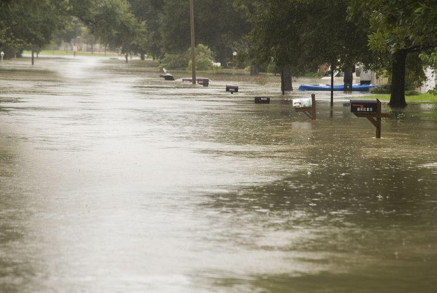 A flooded neighborhood near the Buffalo Bayou and the Barker Reservoirdam on Tuesday, Aug. 29, 2017.