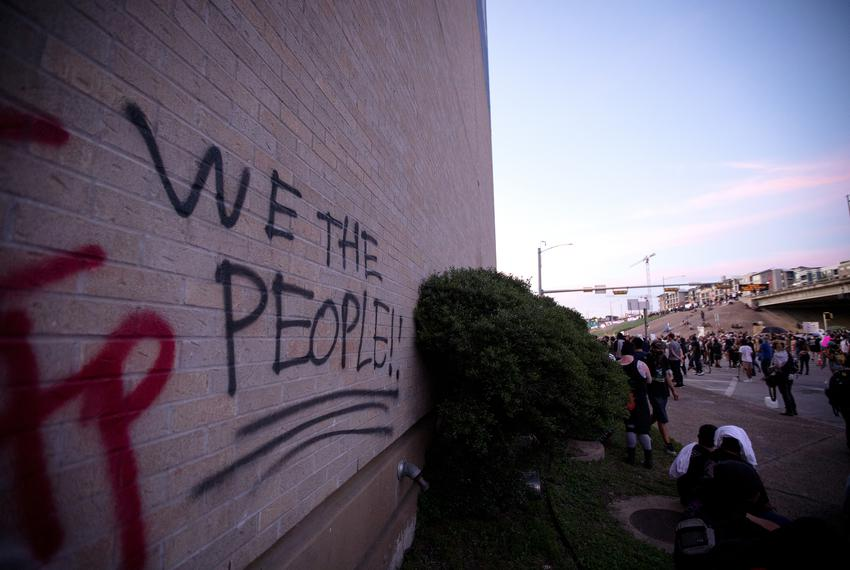 Graffiti on the Austin Police headquarters during the George Floyd protest on May 30, 2020.