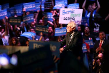 Bernie Sanders addresses the crowd at Verizon Theatre in Dallas, Feb. 27, 2016.
