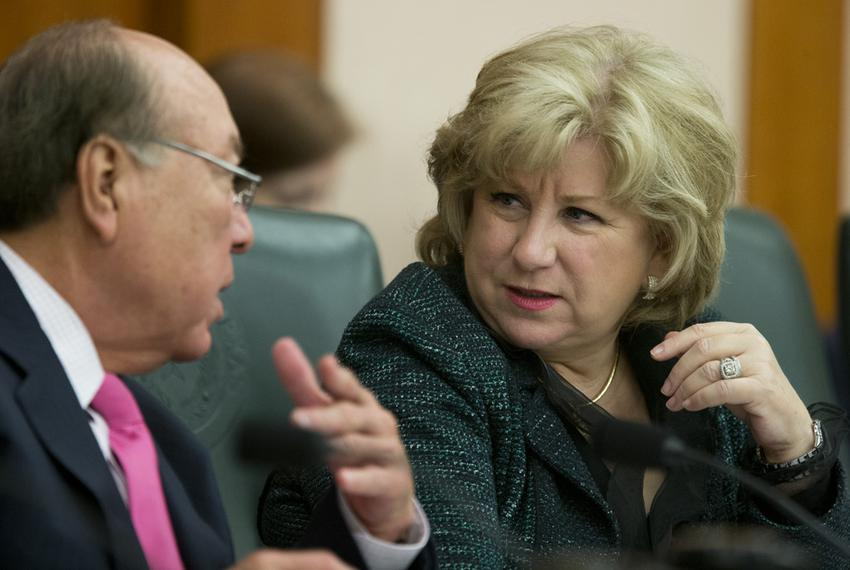 "Senate Finance Committee Chairwoman Jane Nelson, R-Flower Mound, confers with Sen. Juan ""Chuy"" Hinojosa, D-McAllen, during..."
