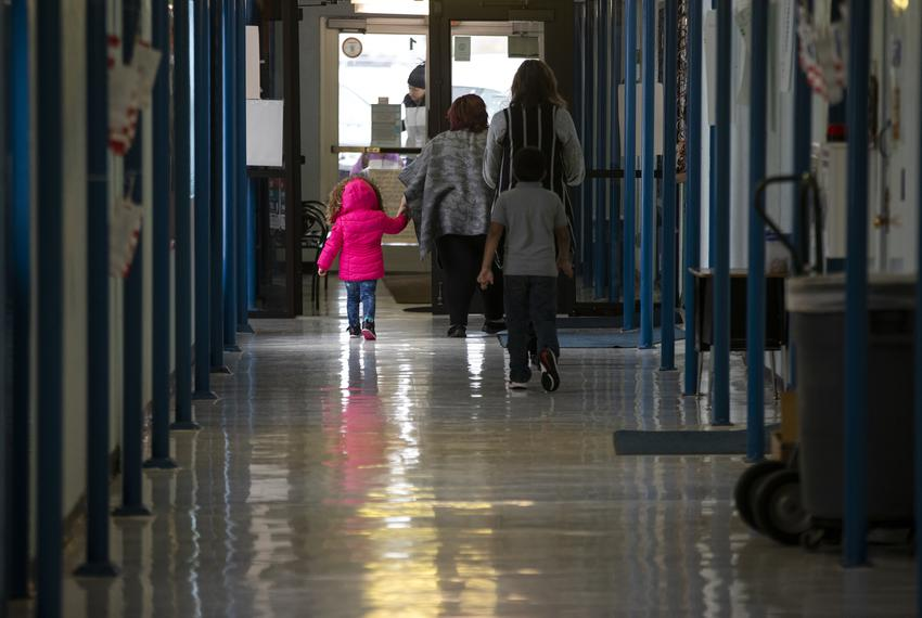 Students and teachers walk through the halls at Cactus Elementary School on Jan. 28, 2020.