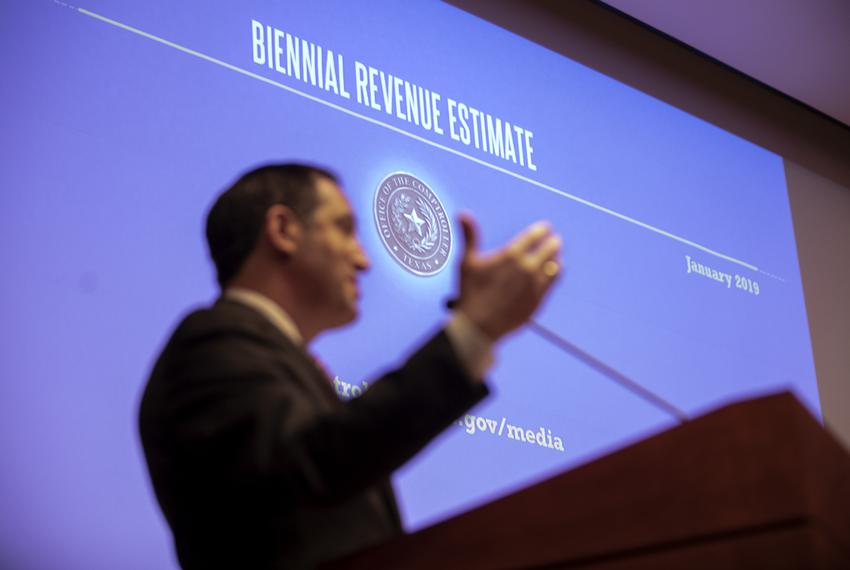 Comptroller Glenn Hegar discusses the Biennial Revenue Estimate for the 2020-21 biennium at the state capitol on Jan. 7, 201…