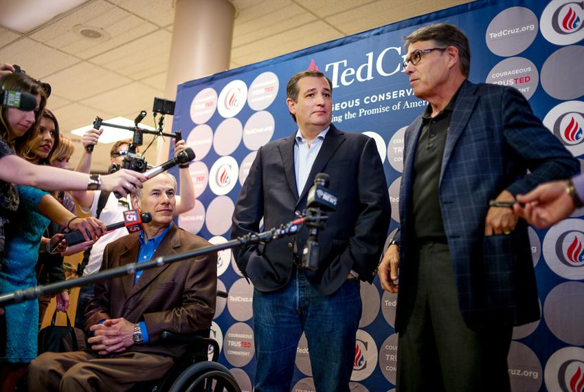 Ted Cruz, flanked by Gov. Greg Abbott and former Gov. Rick Perry, campaigns in San Antonio on Feb. 29, 2016, a day before ...