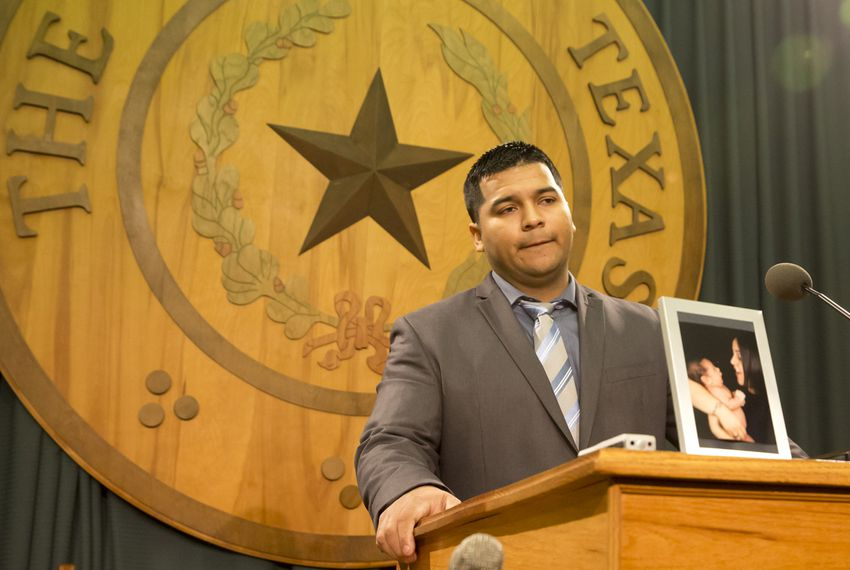 "Erick Muñoz, widow of Marlise Muñoz, speaks during a press conference at Texas Capitol, where ""Marlise's Law"" was introduced on March 12, 2015."