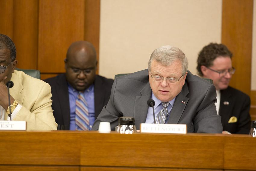 State Sen. Paul Bettencourt, R-Houston, listens to testimony on SB2 at a Senate Finance Committee hearing on March 14, 2017.