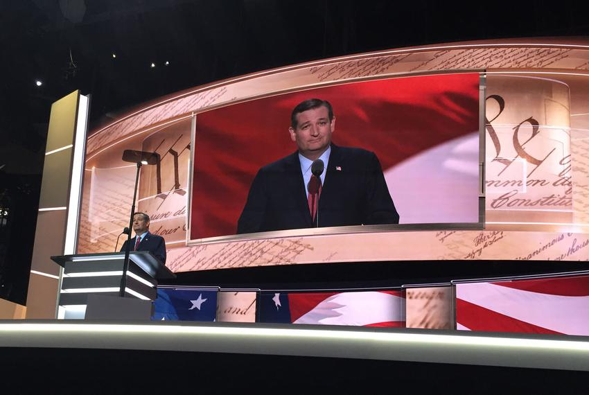 U.S. Sen. Ted Cruz addresses the Republican National Convention in Cleveland, Ohio on July 20, 2016.