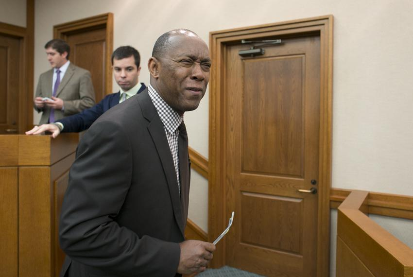 Rep. Sylvester Turner, D-Houston, reacts to a reporter's questions about a quote by Governor Rick Perry on budget talks on M…