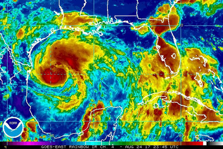 Satellite imagery from the NOAA website shows the rainbow satellite image of Hurricane Harvey as it gathers energy in the Gulf of Mexico. Forecasters expect Harvey to strengthen into a powerful hurricane before making landfall.