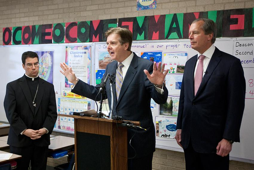 Lt. Governor David Dewhurst and Sen. Dan Patrick R-Houston, during press conference to discuss education reform in Texas i...