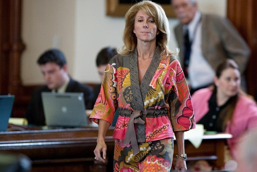 Sen. Wendy Davis, D-Fort Worth, during her filibuster at the end of the the 82nd legislature on Sunday, June 3, 2011. The ...