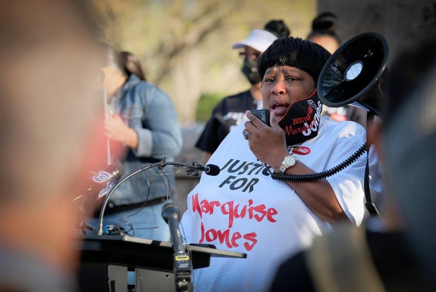 Deborah Bush, the aunt of police shooting victim Marquise Jones, spoke at a rally to support the Texas George Floyd Act outs…