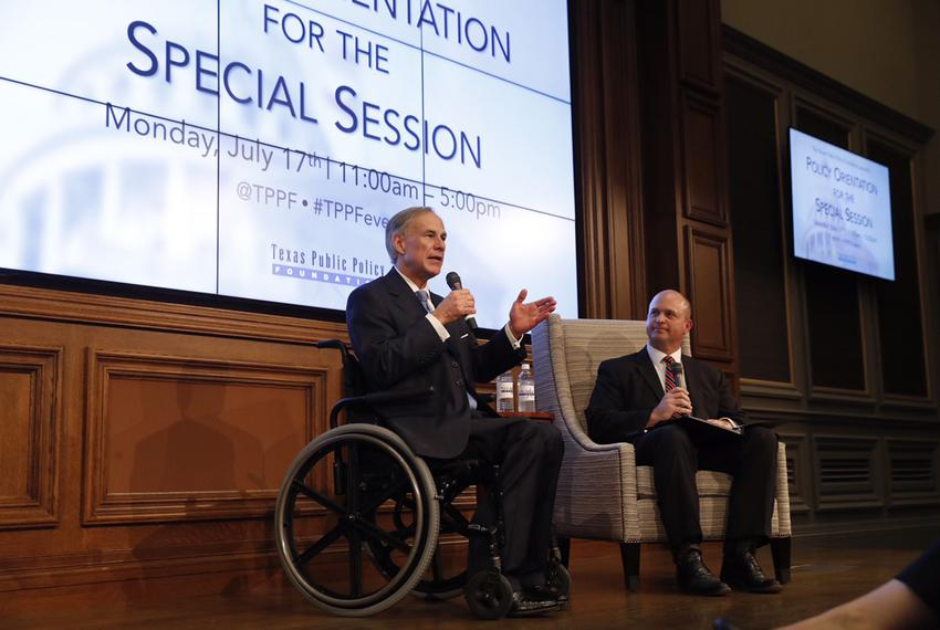 Gov. Greg Abbott (l.) andKevin Roberts, executive vice president at the Texas Public Policy Foundation, at a TPPF orientati…