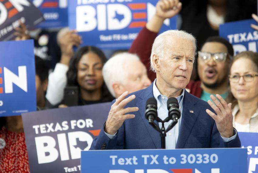 Former Vice President Joe Biden spoke to supporters at a campaign event Monday in Houston.