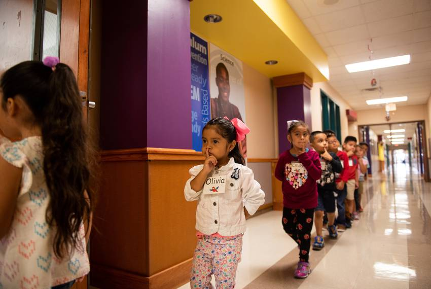 Olivia walks in line to her STEAM class quietly at Hemphill Elementary, Sept. 5, 2019.
