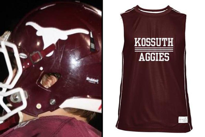 The logo and school colors for Kossuth High School in Mississippi. The school is changing its logo — but not its colors — ...