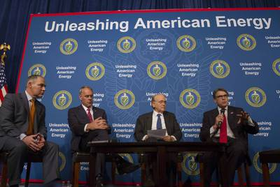 "The Trump Administration has pursued what it calls ""energy dominance."" Pictured from left to right on June 29, 2017: former U.S. Environmental Protection Agency Administrator Scott Pruitt, Interior Secretary Ryan Zinke, energy expert Daniel Yergin, and Energy Secretary Rick Perry."