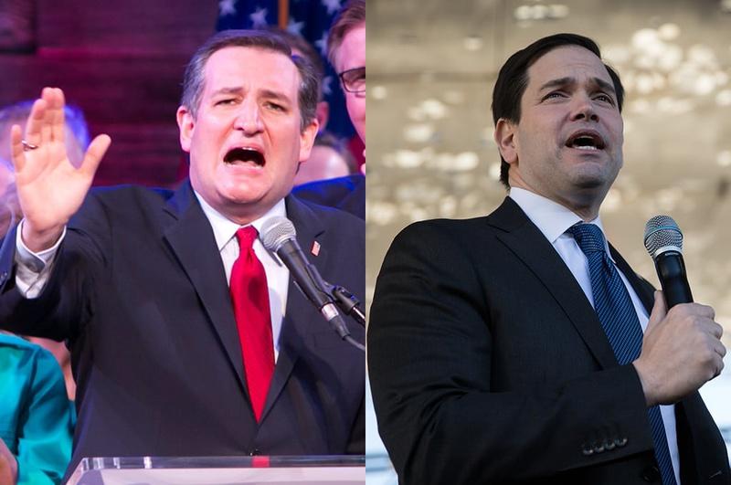 Republican presidential candidates and U.S. Senators Ted Cruz of Texas and Marco Rubio of Florida.