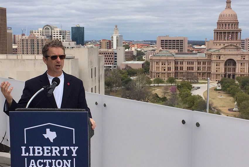 U.S. Sen. Rand Paul speaks Sunday at the launch event for a new group based in Austin. The organization, Liberty Action Texas, wants to see more young people involved in politics.