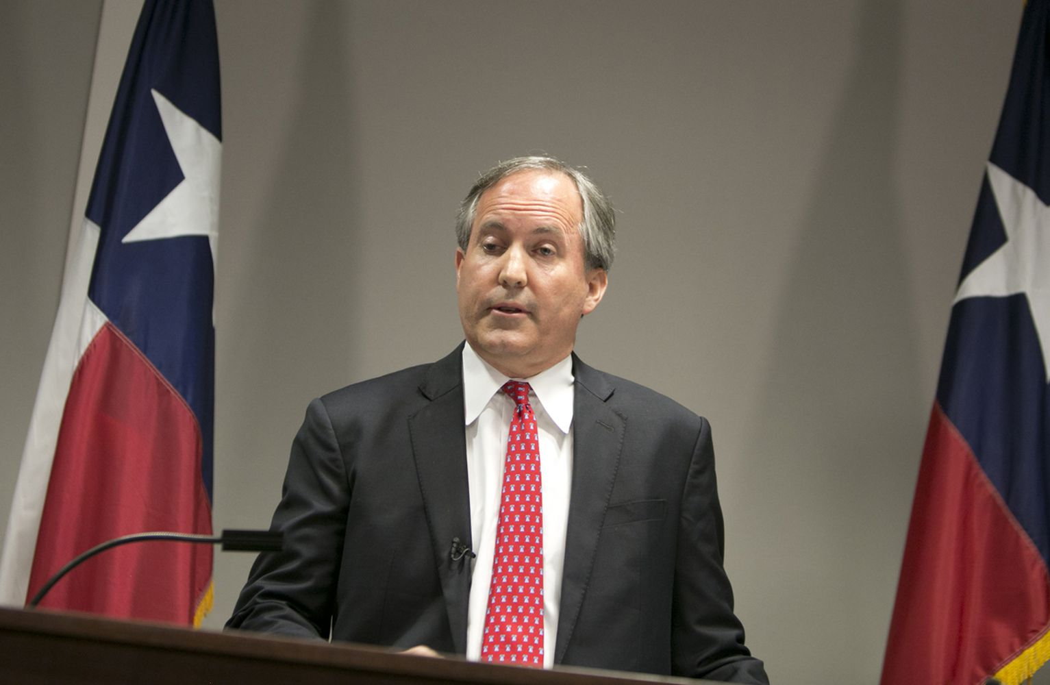 Texas Attorney General Ken Paxton during press conference announcing a lawsuit that had been filed against the U.S Dept of Education, U.S Dept of Justice and other agencies which are requiring TX public schools to open restrooms, locker rooms to both sexes. May 25, 2016