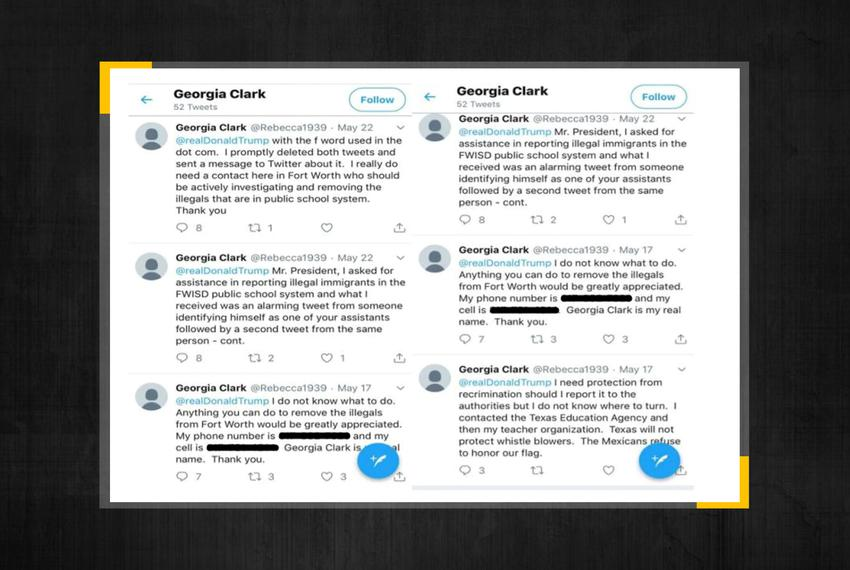 Georgia Clark's tweets to President Donald Trump.