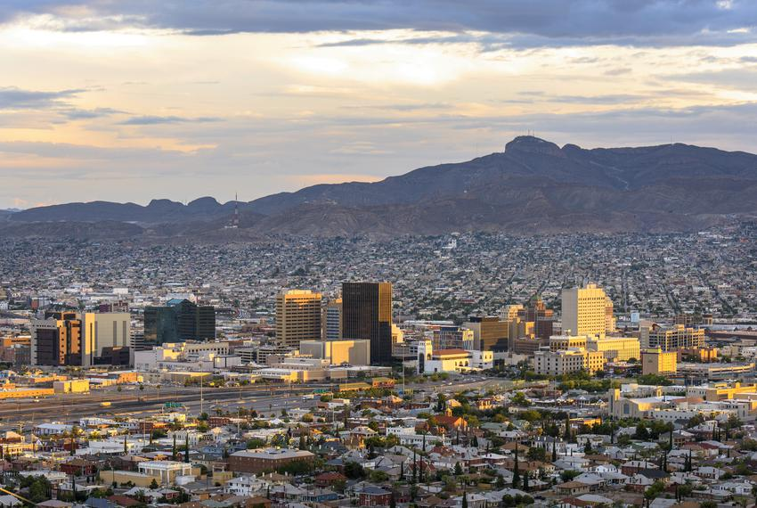 El Paso during a sunset.