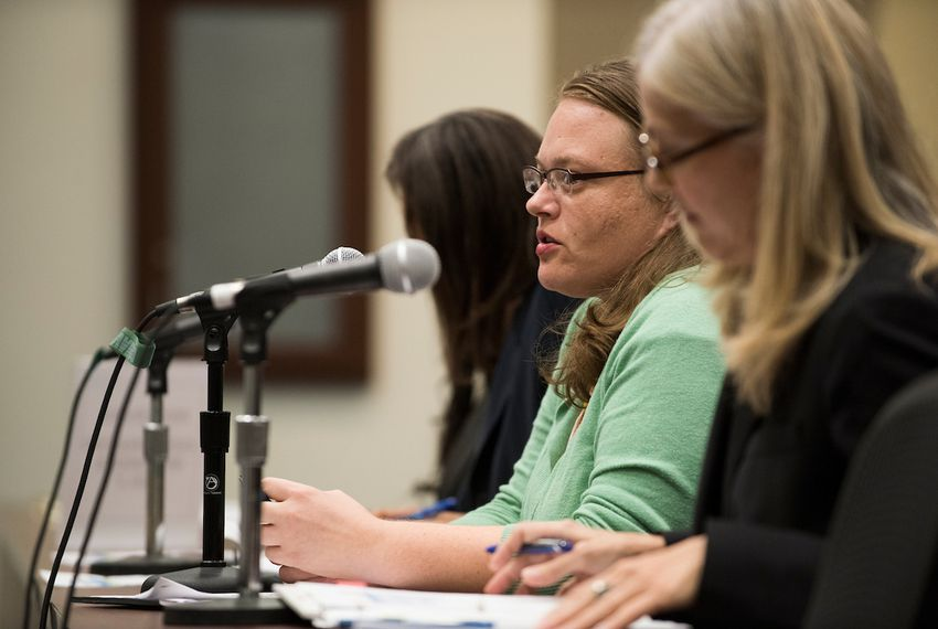 Lauren Rose, director of Youth Justice Policy with Texans Care for Children, addresses the House Juvenile Justice and Family Issues Committee in Dallas, Texas on September 7, 2016.