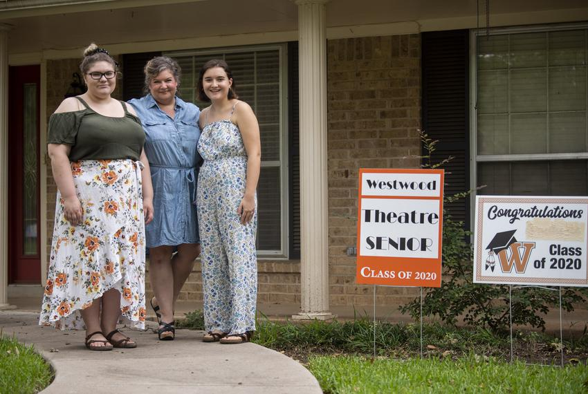 Annabelle Hicks, Ann Marie Cotman Hicks and Allison Hicks outside their north Austin home on July 1, 2020. Annabelle, a Trin…
