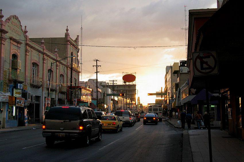 Ciudad Juárez at dusk looking west toward Misión de Nuestra Señora de Guadalupe.