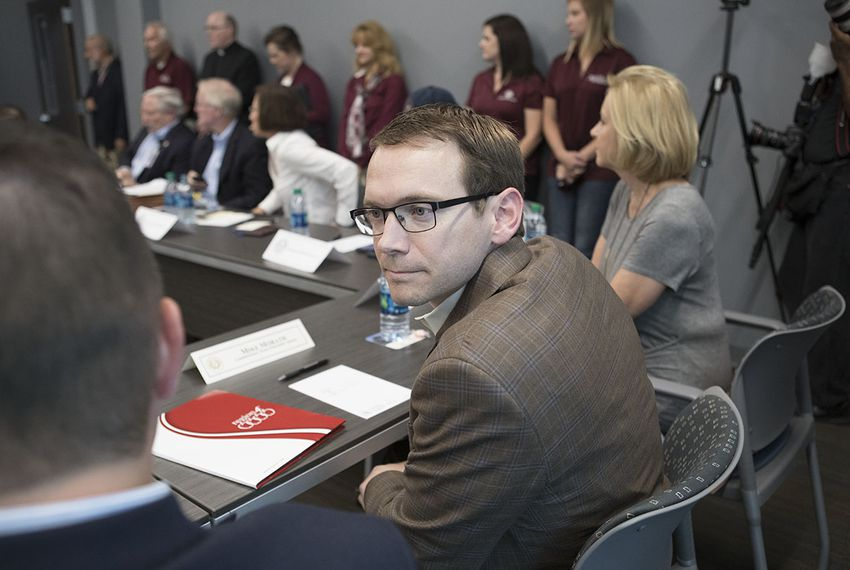 Texas Education Commissioner Mike Morath attends a meeting with local officials in Victoria, Texas, about post-Harvey school issues on Sept. 8, 2017.