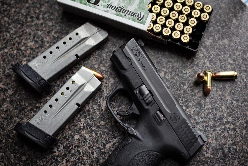 A M&P Shield handgun, small enough to be ideal for conceal carry, in Austin on April 23, 2021.