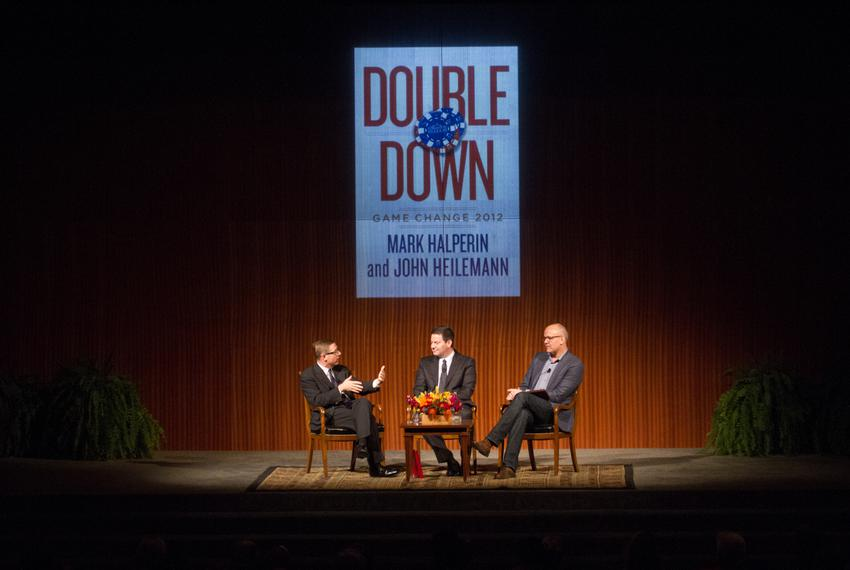 "The LBJ Presidential Library and The Texas Tribune host ""An Evening with Mark Halperin and John Heilemann"" about their new b…"