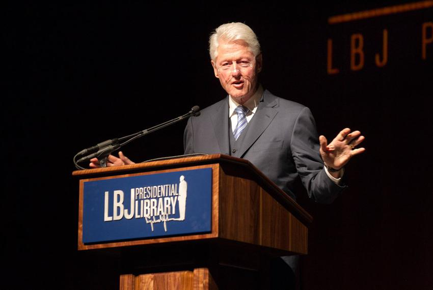 Former President Bill Clinton addresses the audience during the Civil Rights Summit at the LBJ Presidential Library on the U…