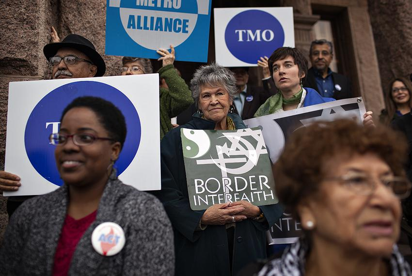Interfaith groups from across Texas and Democratic state legislators rally in support of Medicaid expansion during a press c…