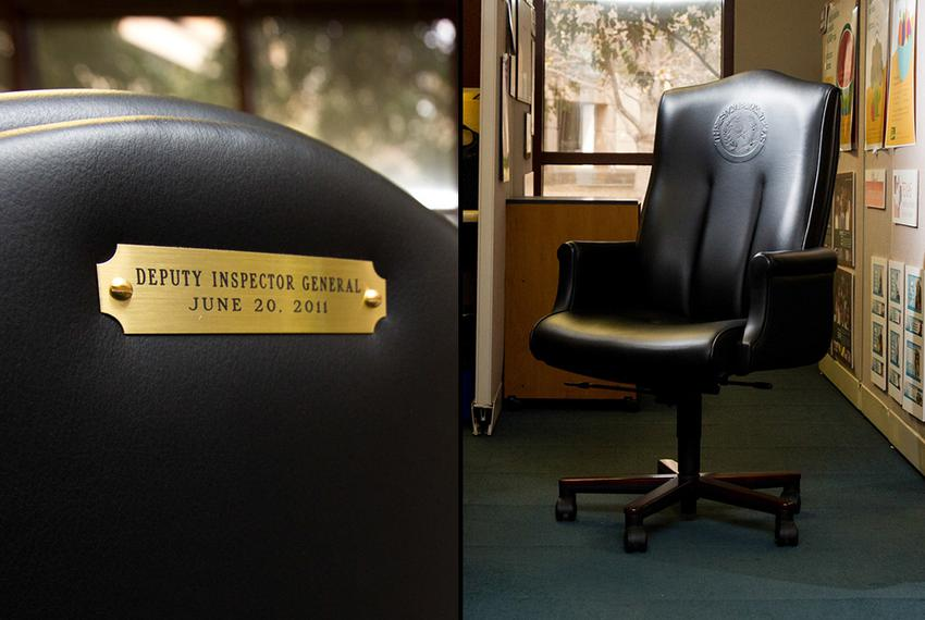 A photo of one of two $2,800 chairs ordered by Jack Stick's office when he was HHSC deputy inspector general.