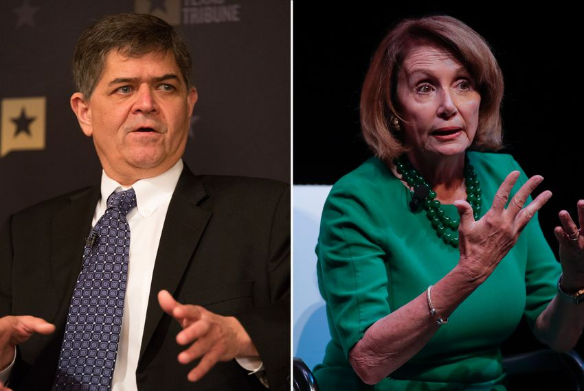 U.S. Reps. Filemon Vela, D-Brownsville, and Nancy Pelosi, D-California.