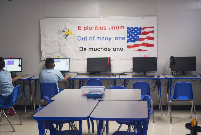Dilley, TX August 23, 2019: Childrenwork in the modest computer lab located at U.S. Immigration and Customs Enforcement's ...