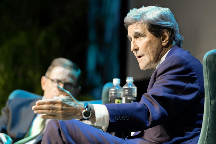 Tribune CEO Evan Smith interviews former U.S. Secretary of State John Kerry at The Texas Tribune Festival in Austin, Texas o…