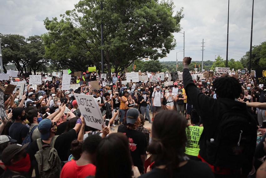 Protesters gather in Austin on May 31, 2020.