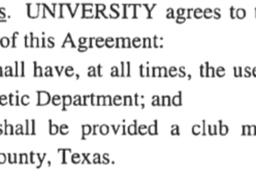 Screenshot of then-head football coach Kevin Sumlin's contract with Texas A&M University, for the term beginning January 1, 2015. It was provided to The Texas Tribune through an open records request.