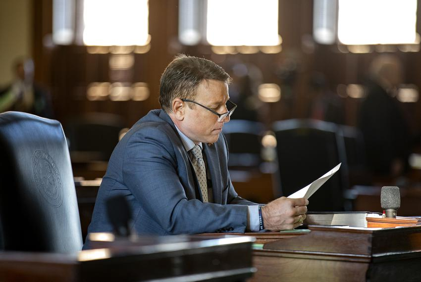 State Sen. Pat Fallon, R-Prosper, at his desk on the Senate floor in 2019.