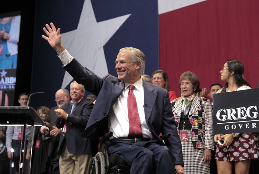 Attorney General Greg Abbott, who was elected Texas governor, waves to supporters after his victory speech in Austin on Nov. 4, 2014.