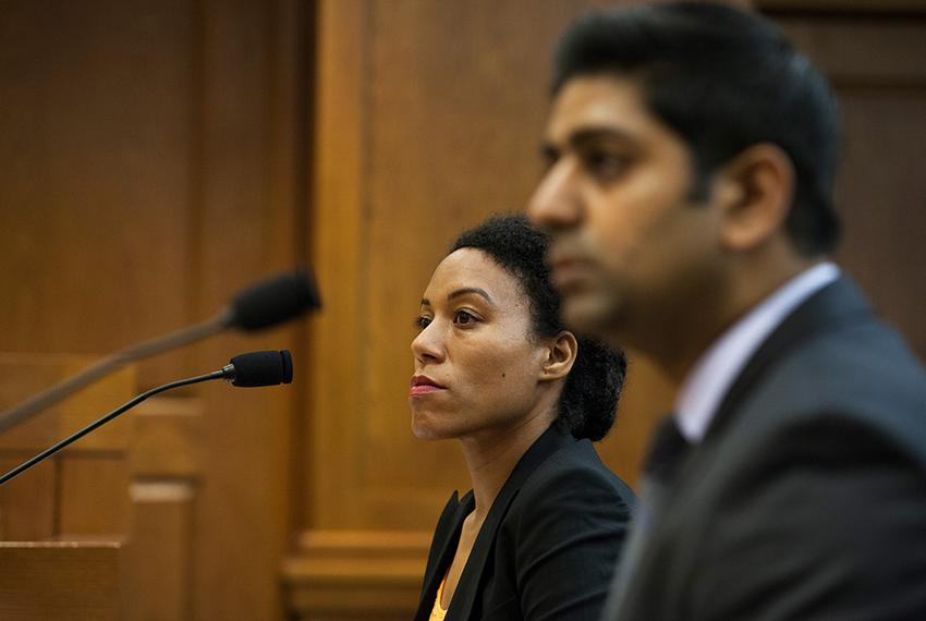 Rena Davis, left, a public policy manager for Lyft, and Sarfraz Maredia, right, general manager for Uber in Texas, testify...