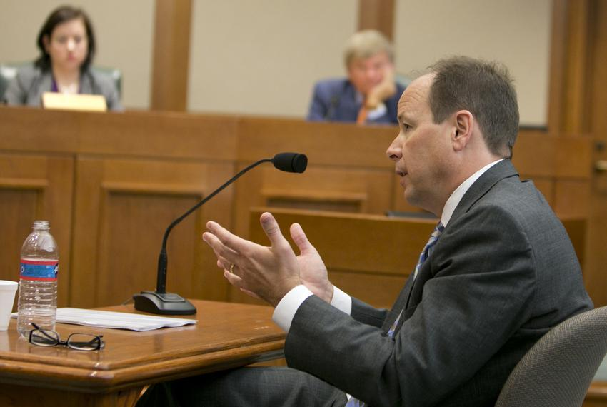Former UT System General Counsel, Barry Burgdorf, gives testimony during a House Committee on Transparency in State Agency O…