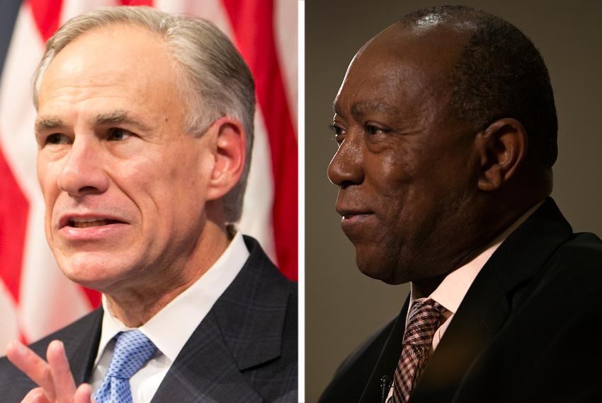 Gov. Greg Abbott (left) and Houston Mayor Sylvester Turner.