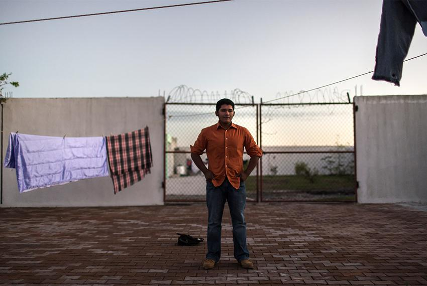 Marcus Francisco Valencia Rodriguez, 19 years old, in the courtyard at the Casa del Migrante migrant shleter in Matamoros,...