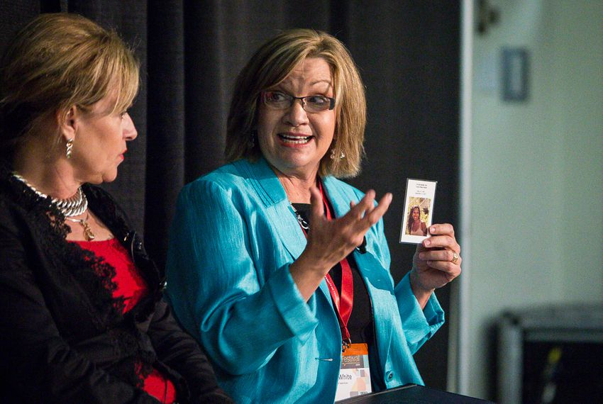 White, right, speaks on a women's health panel at the 2014 Texas Tribune Festival on Sept. 20, 2014.