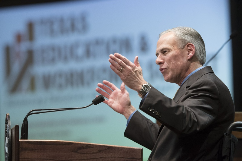Gov. Greg Abbott speaks to a large crowd of state leaders at the Texas Education & Workforce Summit Sept. 19, 2016 at the AT&T Center.