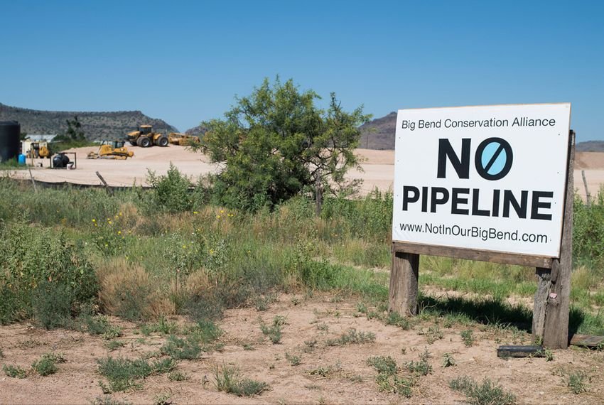 A sign protesting the Trans-Pecos natural gas pipeline in June 2015 in Alpine. Pipeline opposition has escalated in recent years as a fossil fuel boom has brought a pipeline building frenzy.