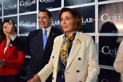 U.S. House Speaker Nancy Pelosi campaigns with U.S. Rep. Henry Cuellar in Laredo.